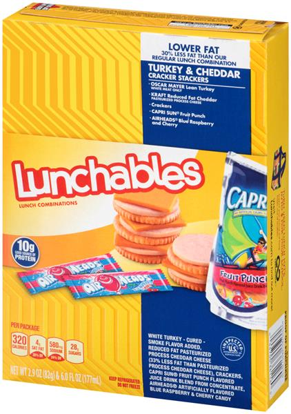 Lunchables Lower Fat Turkey Cheddar Cracker Stackers Lunch  bination With Capri Sun Fruit Punch on oscar mayer lunchables fun pack